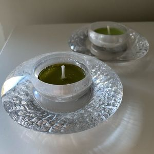 Set of 2 Tealight Glass Candle Holders